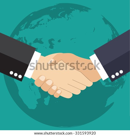 Worldwide cooperation concept - Business handshake with world map and connected user icons - stock vector