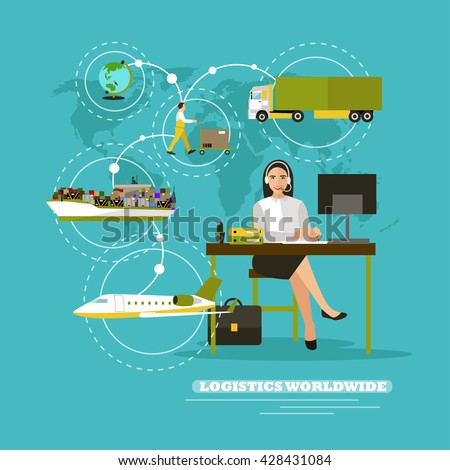 Worldwide delivery service company concept vector illustration. Operator control logistic and cargo transportation around the world, Sea ship, truck, air delivery. - stock vector