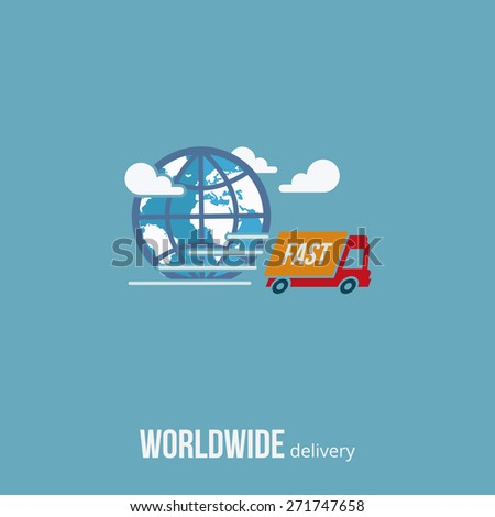 Worldwide delivery truck service concept. Vector Illustration. - stock vector