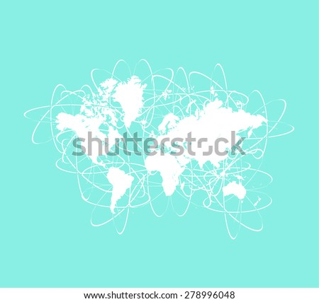 Worldwide networks/paths of internet, commercial, business, communication, technology, and airlines in a faded background, abstract design of multipath ways around the world for web page template - stock vector