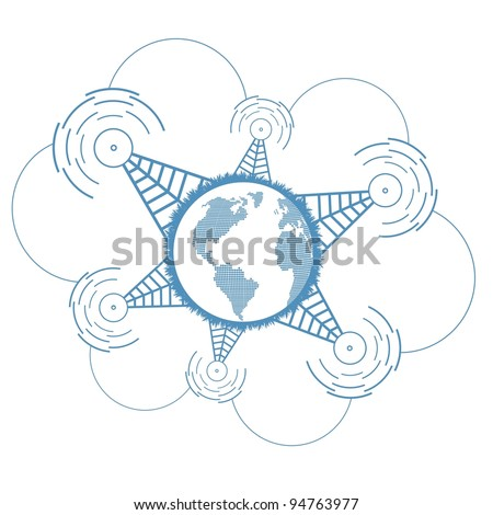 Worldwide signal connections network concept vector background - stock vector