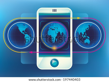 Worldwide technology illustration with smart phone. Vector illustration.
