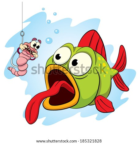 Worm, impaled on a hook while fishing, trying to scare the fish's teeth grin.  - stock vector