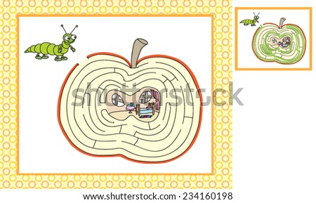 Worms game help find their way into the house - stock vector