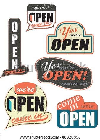 worn out open store signs,also available as a vector artwork where you can remove worn-out-details and have a nice clean form. - stock vector