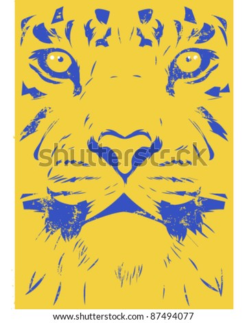Worn tiger illustration - stock vector