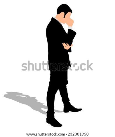 Worried businessman, vector  - stock vector