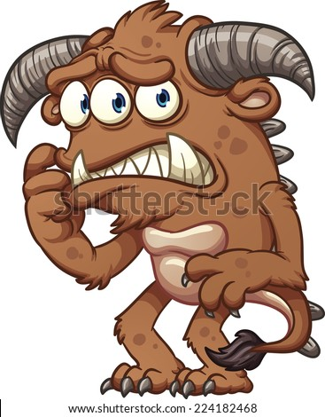 Worried cartoon monster. Vector clip art illustration with simple gradients. All in a single layer. - stock vector