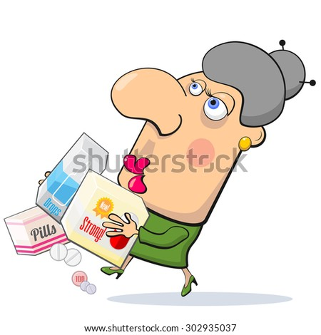 Worrying woman running with boxes with different medicines
