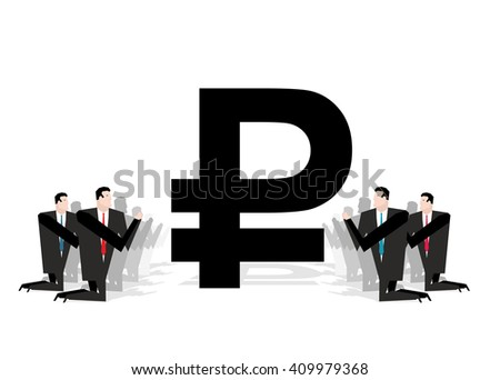 worship of money. Businessman praying on Russian ruble. Financial idol. Prayer cash. People stand on his knees before Russian currency symbol. Allegory for illustration for magazine busines - stock vector