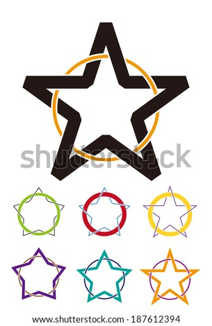 Wound round with a star. Design star element. Abstract star vector logo template set.  - stock vector