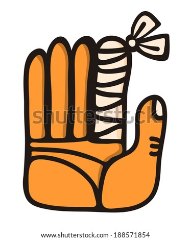wounded finger with bandages - stock vector