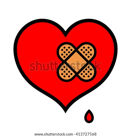 Wounded little red symbolic heart icon dripping blood with pair of crossed over bandages over isolated white background - stock vector