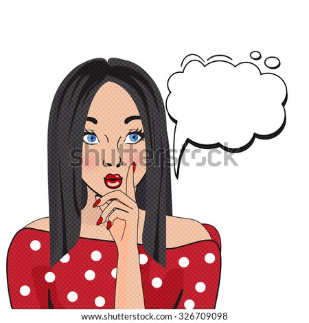 WOW bubble pop art. Thoughtful woman with pouty lips isolated on white background. Vintage comic poster with a girl. Pop Art illustration of a woman with the speech bubble. Party invitation. - stock vector