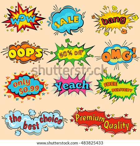 Wow Comic Sound Effects In Pop Art Vector Style Bubble Speech With Halftone Word