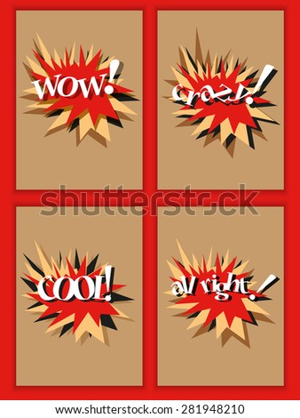 WOW, Crazy, Cool labels - stock vector