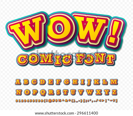 Wow. Creative high detail comic font. Alphabet in style of comics, pop art. Multilayer funny colorful 3d letters and figures for decoration of kids' illustrations, websites, posters, comics, banners - stock vector