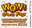 Wow. Creative high detail font for your design. The alphabet in the style of comics. Graphics pop - art on transparent background. Bright cartoon comic. 3d letters. - stock photo
