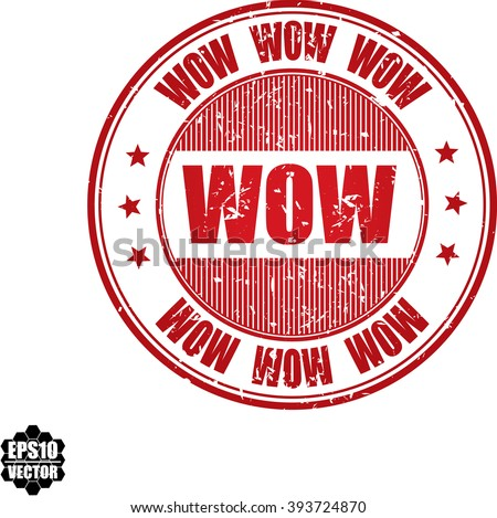 Wow grunge stamp.Vector - stock vector