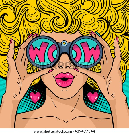 Wow pop art face. Sexy surprised woman with blonde curly hair and open mouth holding binoculars in her hands with inscription wow in reflection.Vector colorful background in pop art retro comic style.