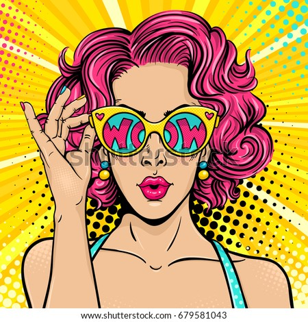 Wow pop art face. Sexy surprised woman with pink curly hair and open mouth holding sunglasses in her hand with inscription wow in reflection. Vector colorful background in pop art retro comic style.