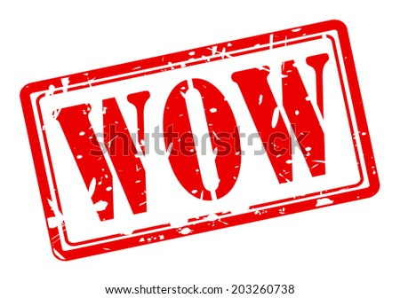 WOW red stamp text on white - stock vector