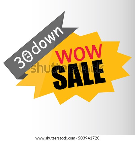 Wow Sale banner template design, special up to thirty % off. vector illustration.