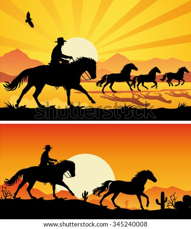 Wrangler riding galloping horse and wild horses at sunset - Cowboy silhouette background