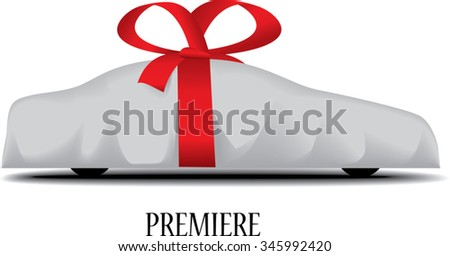 Wrapped car with a red bow - stock vector