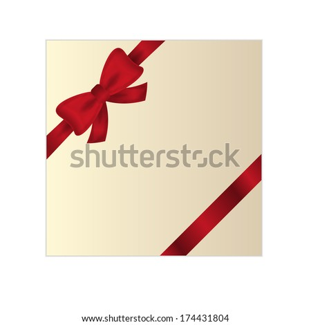wrapped gift or gift card with red ribbon on white background - stock vector