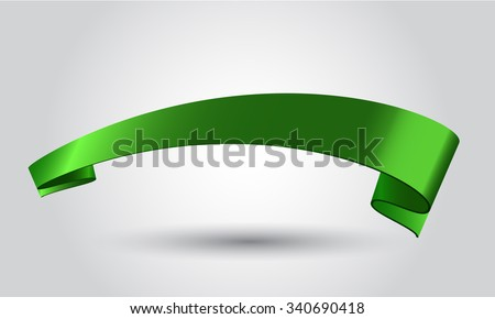 Wrapped long green shining ribbon banner for your design, card, poster, greeting etc - stock vector