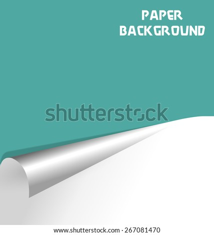 Wrapped paper sheet isolated on cyan background - stock vector