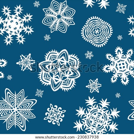 Wrapper with paper snowflakes - stock vector