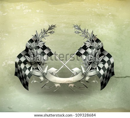 Wreath and Racing flags, old-style vector - stock vector
