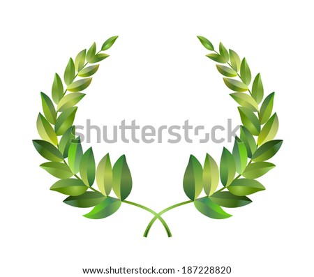 Wreath from two branches with green laurel leaves. Vector drawing. - stock vector
