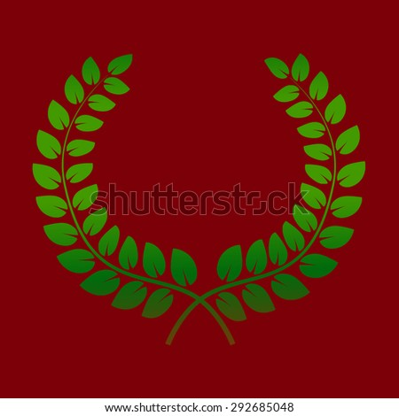 Wreath from two branches with green laurel leaves. Vector illustration on ? red background - stock vector