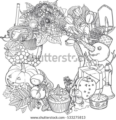 Wreath Made Out Symbols All Four Stock Vector 533275813 Shutterstock