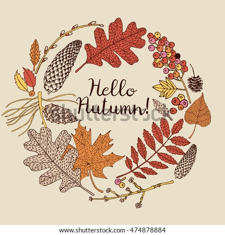 Wreath of autumn leaves. Background with hand drawn autumn wreath. Sketch, design elements. Vector illustration.