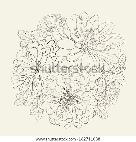 Wreath of beautiful summer flowers, isolated on biege. Vector illustration. - stock vector