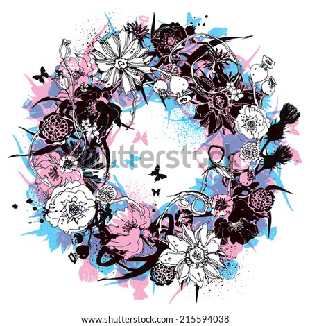 Wreath of flowers vector illustration - stock vector