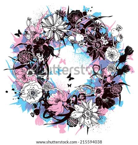 Wreath of flowers vector illustration - stock vector