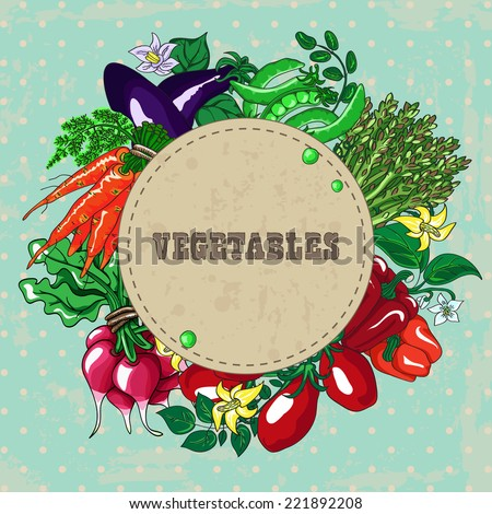 Wreath of fresh kitchen garden vegetables with vintage banner. Hand drawn vector illustration. - stock vector