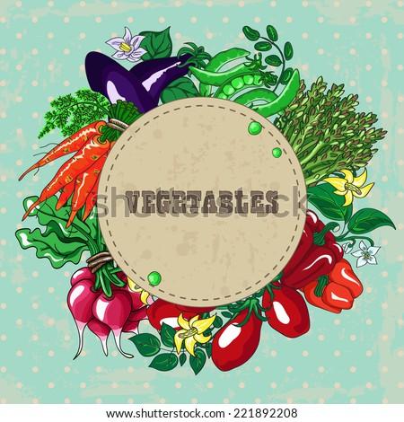 Wreath of fresh kitchen garden vegetables with vintage banner. Hand drawn vector illustration. - stock vector