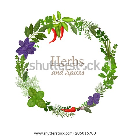 wreath of herbs and spices on a white background - stock vector