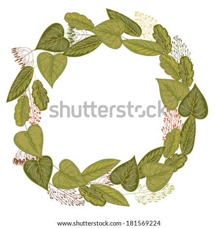 Wreath of leaves and grasses - stock vector