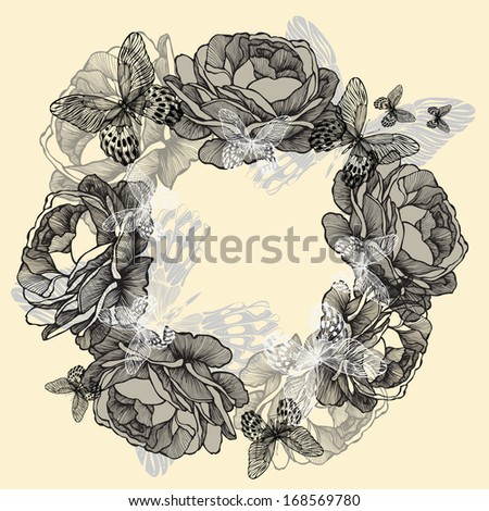Wreath of roses, butterflies, hand-drawing. Vector illustration. - stock vector
