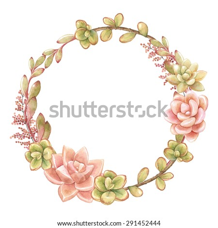Wreath of succulents, vector watercolor illustration. - stock vector
