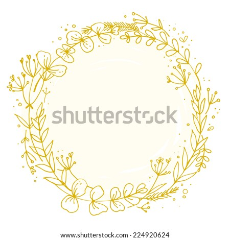 Wreath outlined with hand, delicate flowers. vector - stock vector