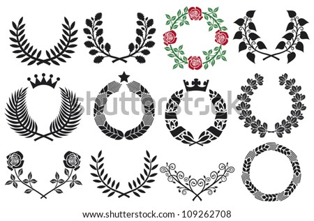 wreath set (roses wreath, wreath collection, laurel wreath, wreath of wheat, oak wreath) - stock vector