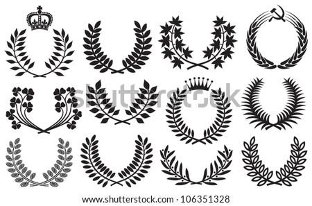 Wreath set (wreath collection, laurel wreath, clover wreath, acacia wreath, wreath of wheat and olive wreath) - stock vector